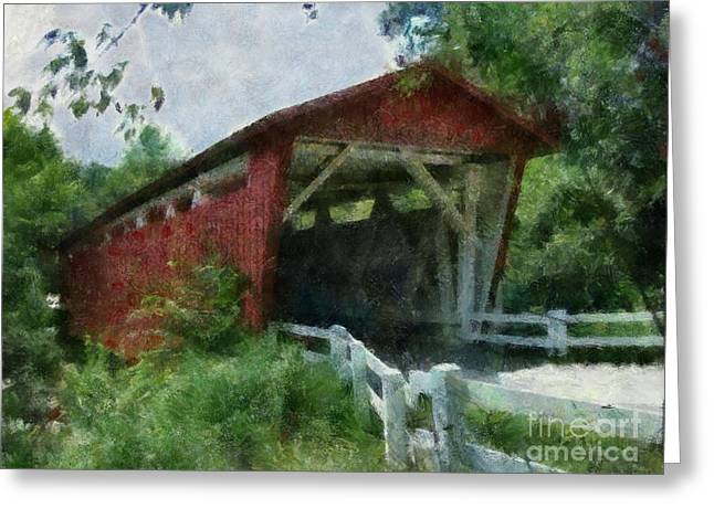 Roadway Greeting Cards - Everrett Road Covered Bridge Greeting Card by Scott B Bennett