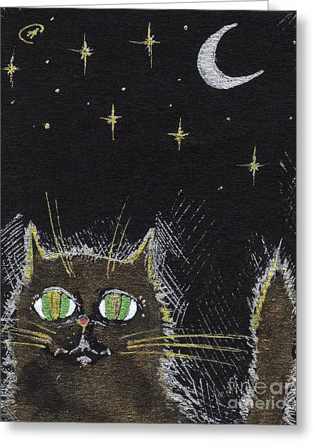 Black Cat Drawings Greeting Cards - Every Cat Appears Black In The Night  Greeting Card by Angel  Tarantella