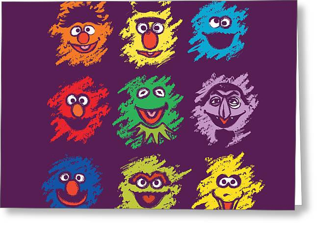 Sesame Street Greeting Cards - Every Colors On The Street Greeting Card by Budi Satria Kwan