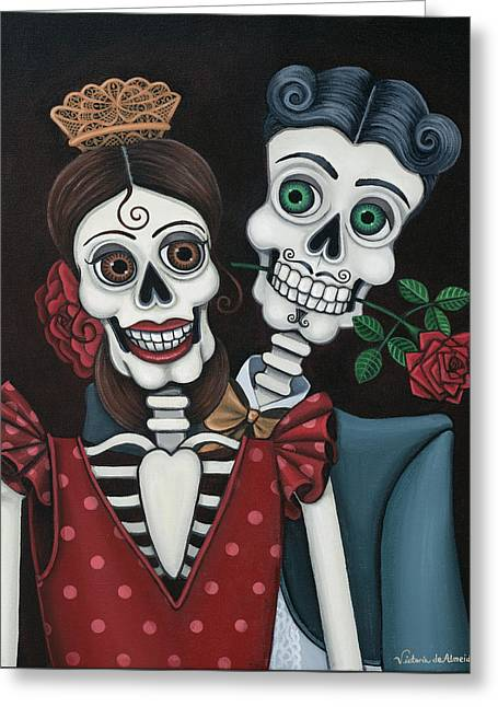 Hispanic Artists Greeting Cards - Every Juan Loves Carmen Greeting Card by Victoria De Almeida