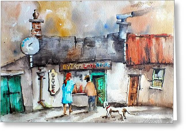 Ennistymon Greeting Card featuring the painting Every Little Helps One Stop Shop by Val Byrne