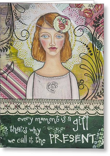 Discovery Mixed Media Greeting Cards - Every Moment is a Gift  Inspirational Mixed Media Art by Stanka Vukelic Greeting Card by Stanka Vukelic
