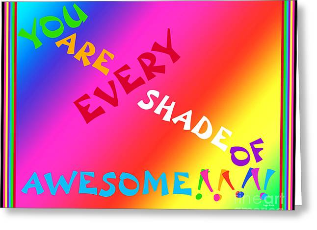 Gold Lime Green Digital Greeting Cards - Every Shade of Awesome Greeting Card by Linda Galok