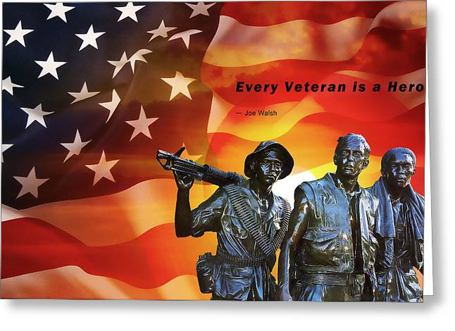 Veteran Day Mixed Media Greeting Cards - Every Veteran A Hero Greeting Card by Daniel Hagerman