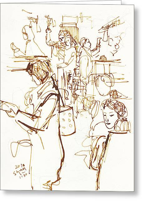 Everyday Drawings Greeting Cards - Everyday Scene Pen Drawing In Electric Train Of Japan Greeting Card by Shunichi Takahashi