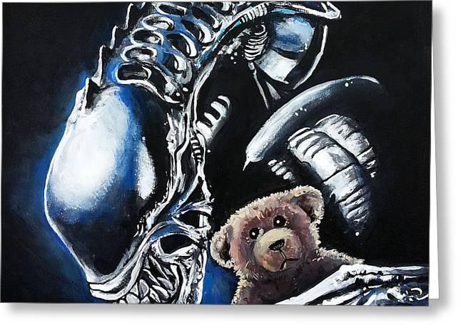 Alien Paintings Greeting Cards - Everyone Needs a Teddy Bear Greeting Card by Tom Carlton