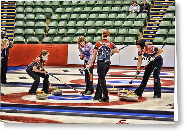 Curling Greeting Cards - Everyone Watch the Rock 1 Jones and Muirhead Greeting Card by Lawrence Christopher