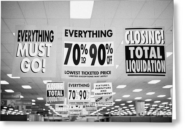 Closing Greeting Cards - everything must go total liquidation closing signs in a store in Saskatoon saskatchewan canada Greeting Card by Joe Fox