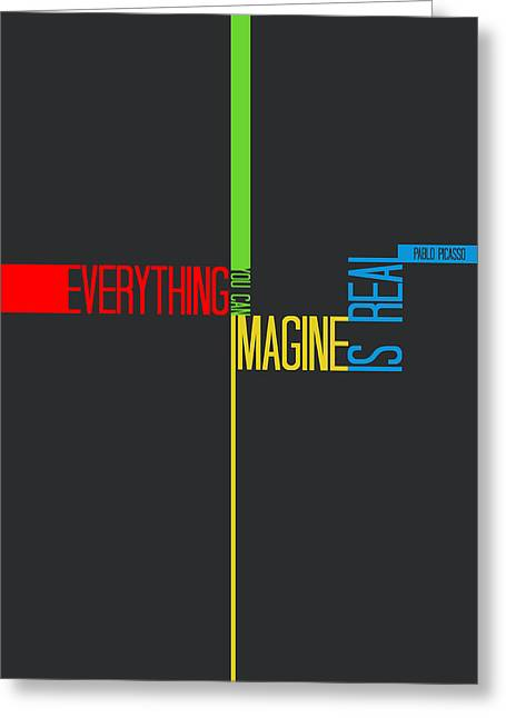 Brainy Greeting Cards - Everything you Imagine Poster Greeting Card by Naxart Studio