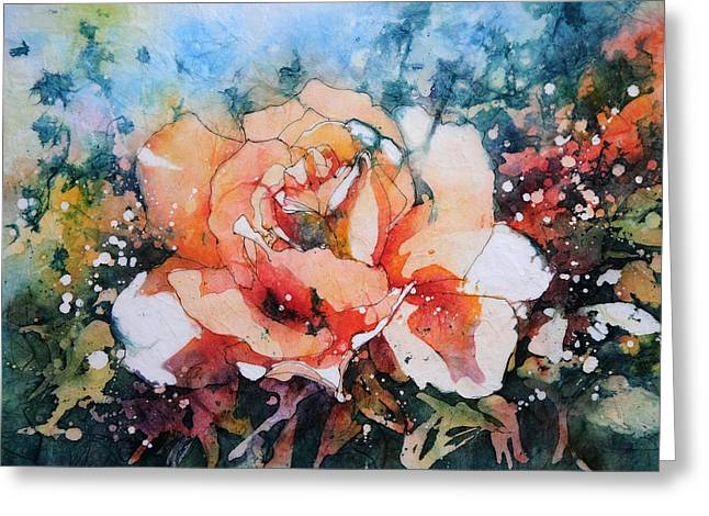 Watercolour Greeting Cards - Everythings Peachy . . . Peach Rose Greeting Card by Stephie Butler