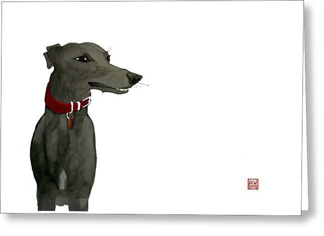 Dog Drawings Greeting Cards - Evie Greeting Card by Richard Williamson