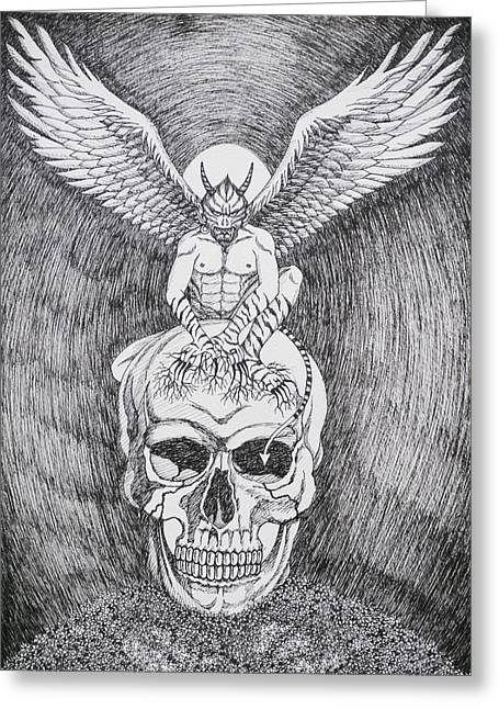 Memorial Day Drawings Greeting Cards - Evil and Goodness harmonized to be me. Greeting Card by Benjavisa Ruangvaree