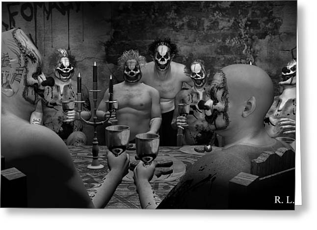 Banquet Digital Art Greeting Cards - Evil Clown Banquet - Black and White Greeting Card by Robert Crepeau