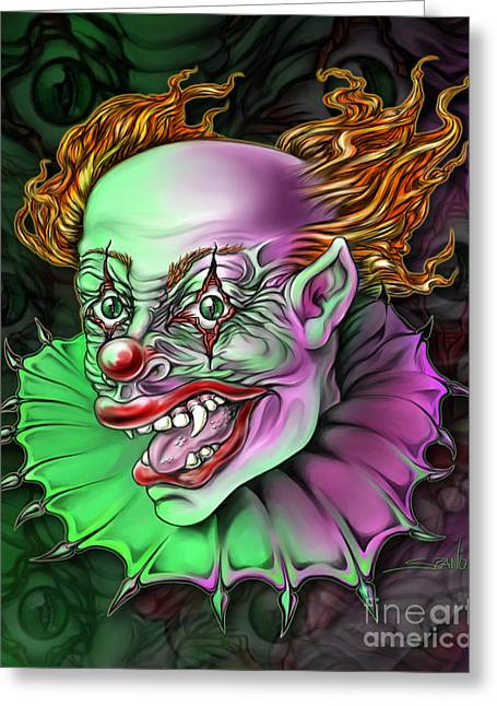 Spano Greeting Cards - Evil Clown by Spano Greeting Card by Michael Spano