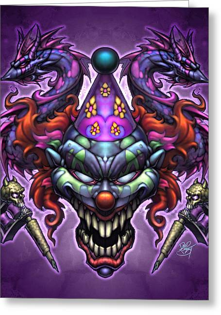 Posse Greeting Cards - Evil Clown Greeting Card by David Bollt
