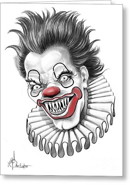 Bad Drawing Greeting Cards - Evil Clown  Greeting Card by Murphy Elliott