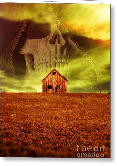 Wooden Structures Greeting Cards - Evil Dwells in the haunted house on the hill Greeting Card by Edward Fielding