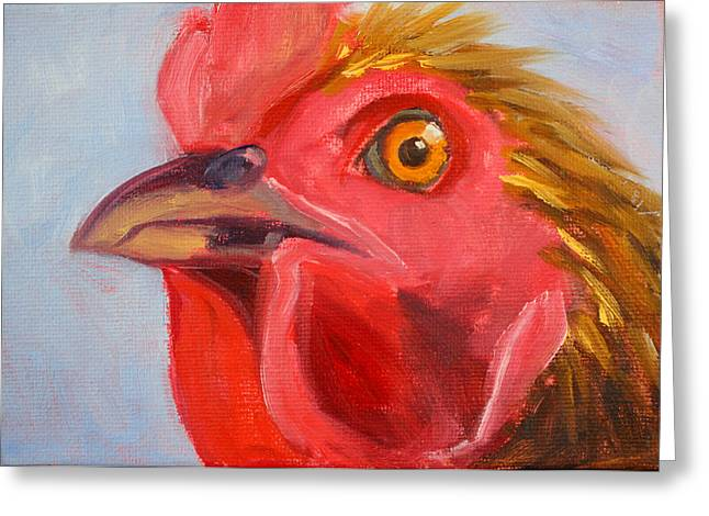 Rooster Kitchen Art Greeting Cards - Evil Eye Greeting Card by Nancy Merkle