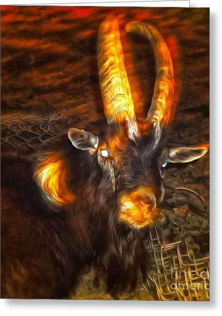 Gregory Dyer Digital Greeting Cards - Evil Goat Greeting Card by Gregory Dyer