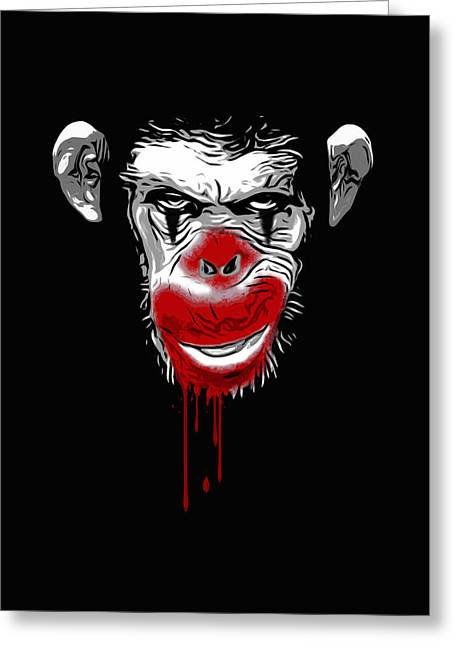 Scary Clown Greeting Cards - Evil Monkey Clown Greeting Card by Nicklas Gustafsson