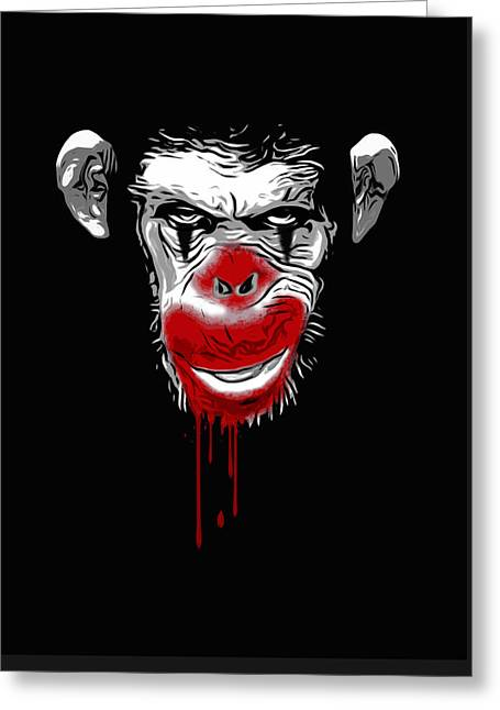 Chimpanzee Greeting Cards - Evil Monkey Clown Greeting Card by Nicklas Gustafsson