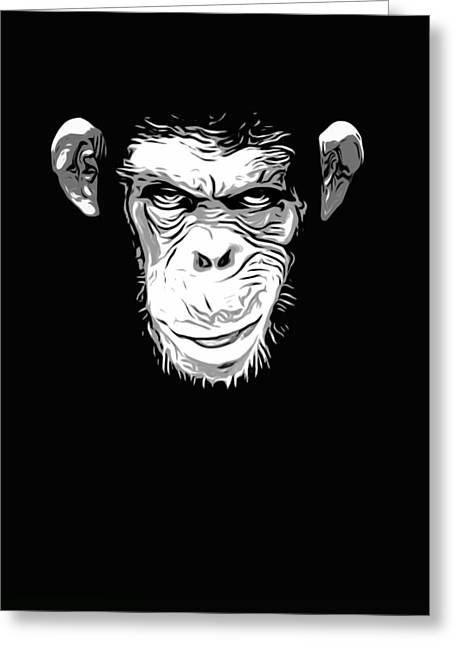 Chimpanzee Greeting Cards - Evil Monkey Greeting Card by Nicklas Gustafsson