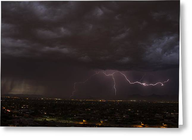 Arizona Lightning Greeting Cards - Evil Monsoon Sky Greeting Card by Cathy Franklin