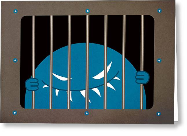 Boriana Giormova Greeting Cards - Evil Monster Kingpin Jailed Greeting Card by Boriana Giormova
