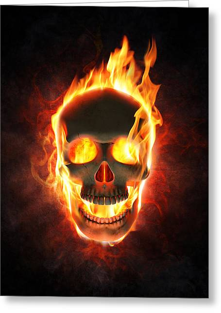 Danger Greeting Cards - Evil skull in flames and smoke Greeting Card by Johan Swanepoel