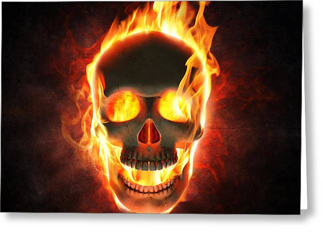 Burn Greeting Cards - Evil skull in flames and smoke Greeting Card by Johan Swanepoel