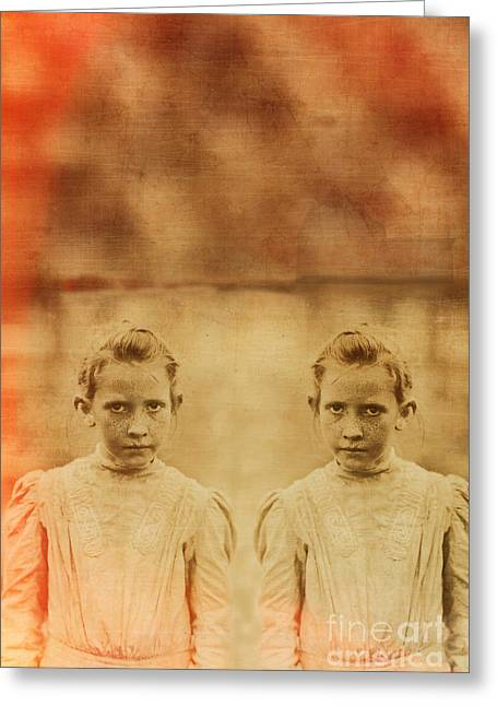 Evil Greeting Cards - Evil Twins Greeting Card by Edward Fielding
