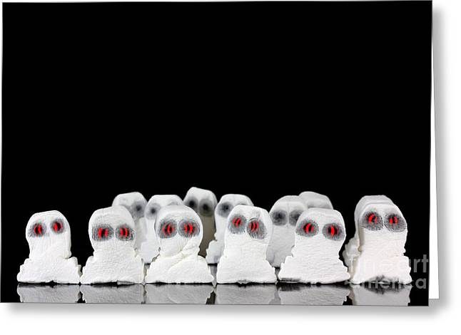 Spook Greeting Cards - Evil white ghosts in a crowd with black space Greeting Card by Simon Bratt Photography LRPS