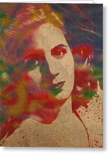 Dictator Greeting Cards - Evita Eva Peron Watercolor Portrait on Worn Distressed Canvas Greeting Card by Design Turnpike