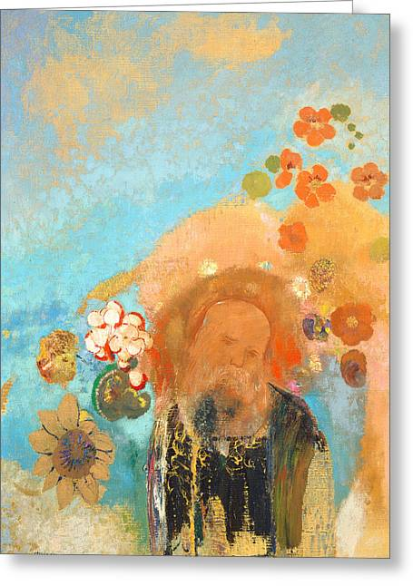 Redon Greeting Cards - Evocation of Roussel Greeting Card by Odilon Redon