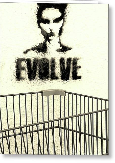 Stencil Spray Greeting Cards - Evolution Gone Wrong Greeting Card by Joe Jake Pratt