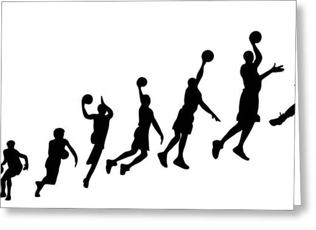 Basketballs Greeting Cards - Evolution Human to Michael Jordan Greeting Card by Jarvis Chau