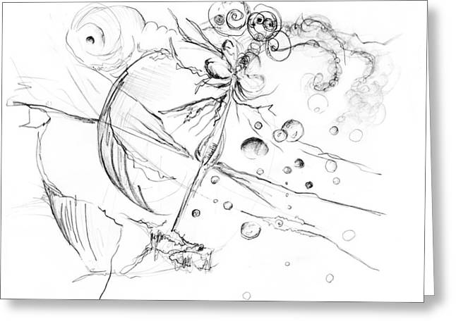 Surreal Landscape Drawings Greeting Cards - Evolution Greeting Card by Jessica Snyder