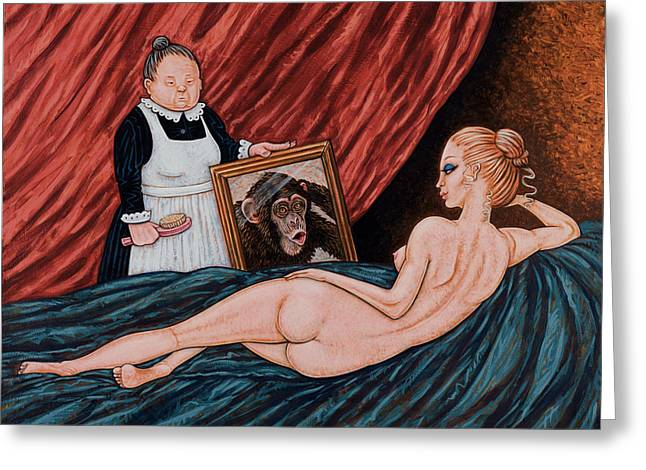 Chimpanzee Paintings Greeting Cards - Evolution of Venus Greeting Card by Holly Wood