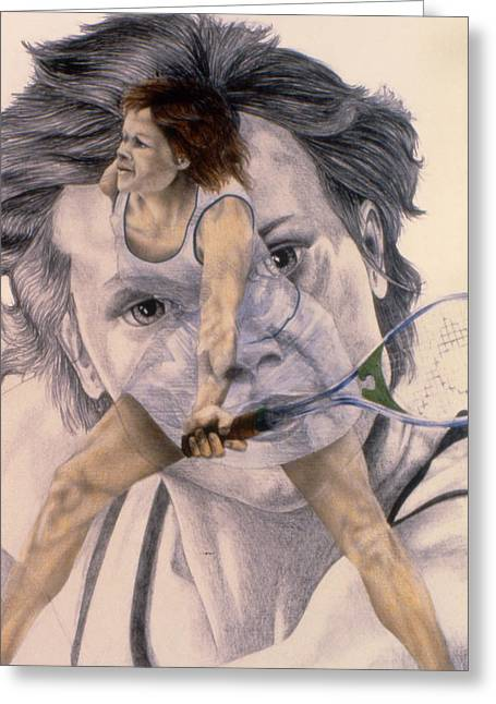Wimbledon Drawings Greeting Cards - Evonne Goolagong Cawley Greeting Card by Phil Welsher
