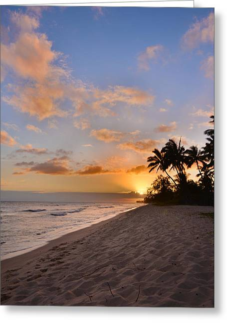 Golden Sand Greeting Cards - Ewa Beach Sunset 2 - Oahu Hawaii Greeting Card by Brian Harig