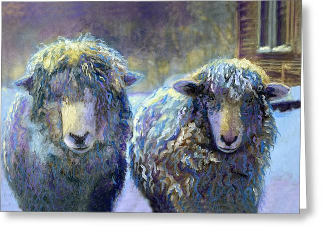 Winter In Maine Paintings Greeting Cards - Ewe and Me 2 Greeting Card by Cindy McIntyre