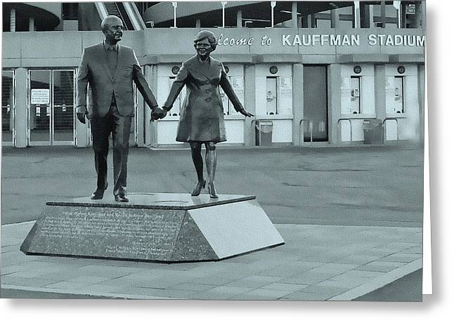 Ewing Greeting Cards - Ewing and Muriel Kauffman Statue Greeting Card by Ellen Tully