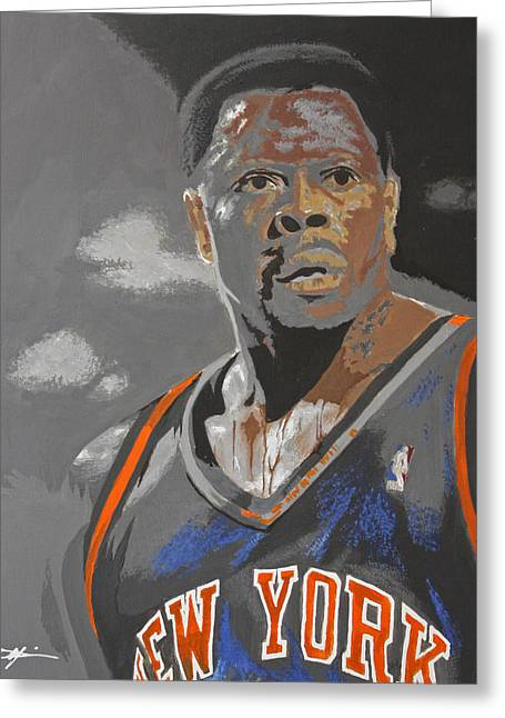 Knicks Greeting Cards - Ewing Greeting Card by Don Medina