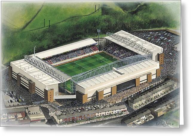Art Mobile Greeting Cards - Ewood Park - Blackburn Rovers Greeting Card by Kevin Fletcher