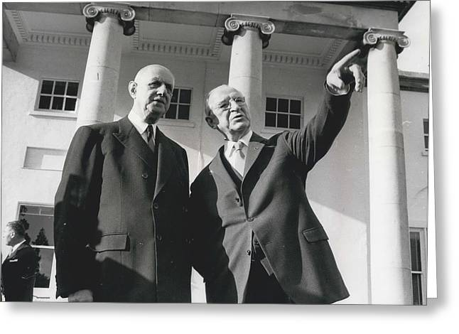 Retro Photography Greeting Cards - Ex - President De Gaulle Is Guest Of President De Valera In Dublin Greeting Card by Retro Images Archive