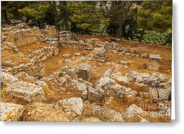 Ancient Greek Ruins Greeting Cards - Excavations in Crete Greeting Card by Patricia Hofmeester