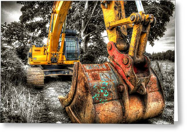 Excavator Greeting Cards - Excavator Greeting Card by Mal Bray