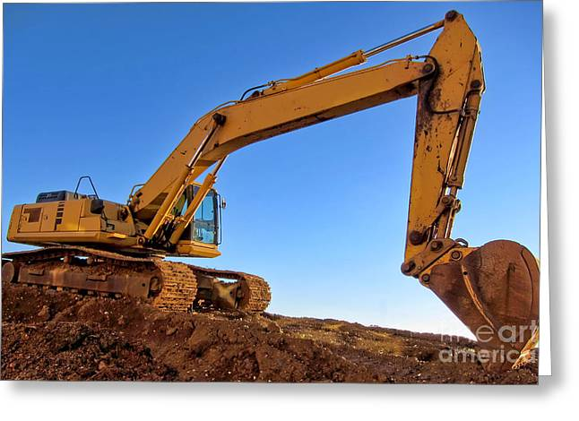Excavator Greeting Cards - Excavator Greeting Card by Olivier Le Queinec