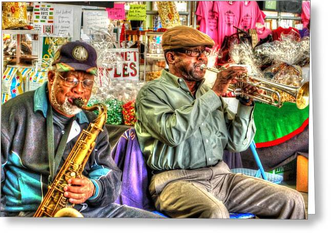 Excelsior Band Horn Players Greeting Card by Michael Thomas