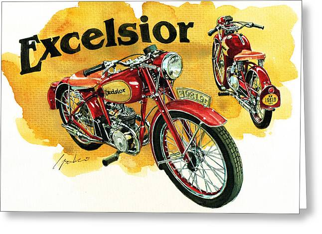 Classic Cycle Greeting Cards - Excelsior Greeting Card by Yoshiharu Miyakawa